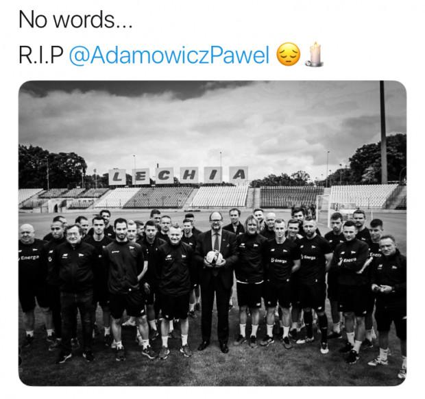 Paweł Adamowicz wspierał nie tylko piłkarzy Lechii Gdańsk. Powyżej zrzut ekranu z Twittera piłkarza biało-zielonych Joao Nunesa.