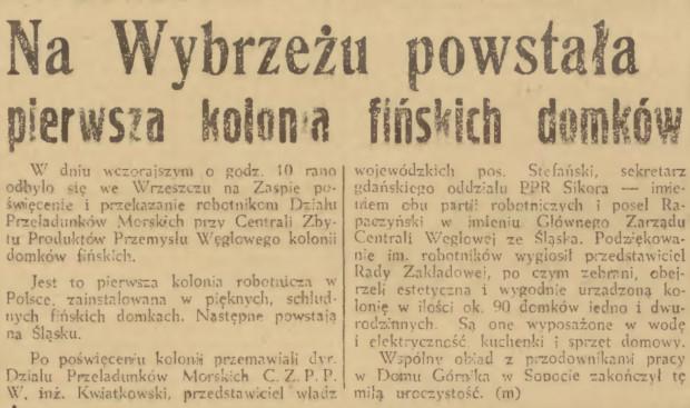 Informacja o oddaniu do użytku osiedla fińskich domków we Wrzeszczu w Dzienniku Bałtyckim z 10 maja 1948 roku.