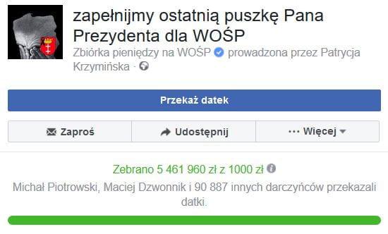 Kwota rośnie z każdą minutą. We wtorek o godz. 12:35 było już blisko 5,5 mln zł.