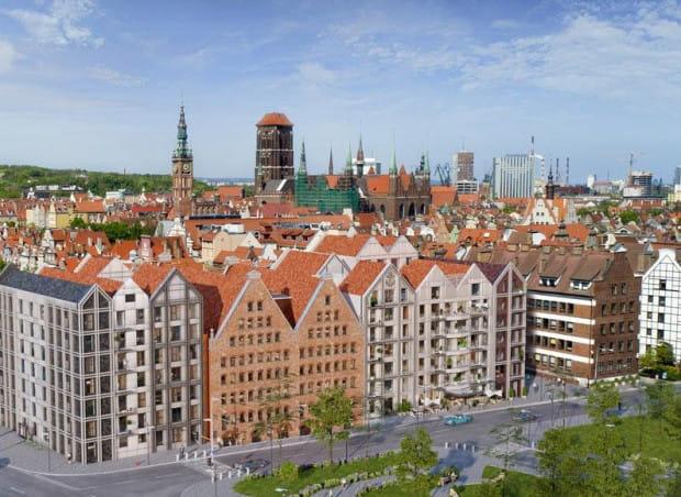 Nowe budynki wkomponowane w spichlerze Wielki i Mały Gorddeck, w których znajdzie się hotel.