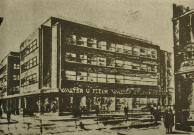 """Jeden z projektów Erwina Lessera przedstawiający nową siedzibę Domu Handlowego """"Walter&Fleck"""", 1928 r."""