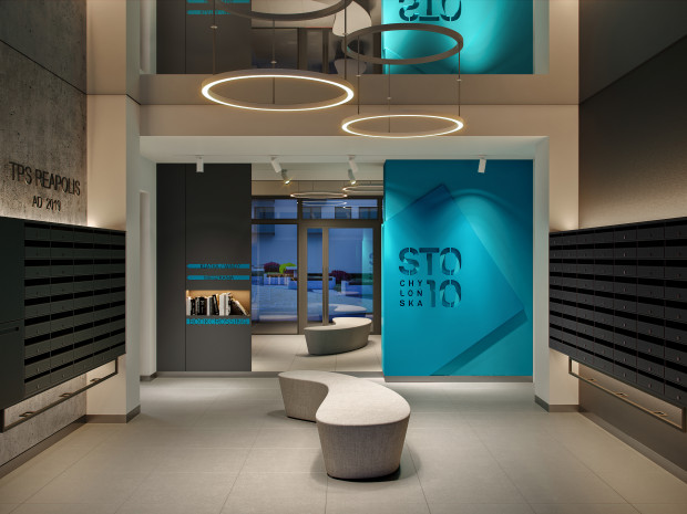 Komfortowe wnętrza to jeden z atutów nowych inwestycji mieszkaniowych. Na zdjęciu lobby w Chylońskiej110.