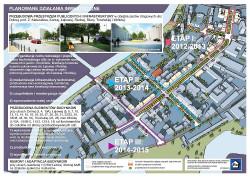 Mapa rewitalizacji Dolnego Miasta. Zajezdnia znajduje się tam, gdzie widnieje fioletowy trójkąt.