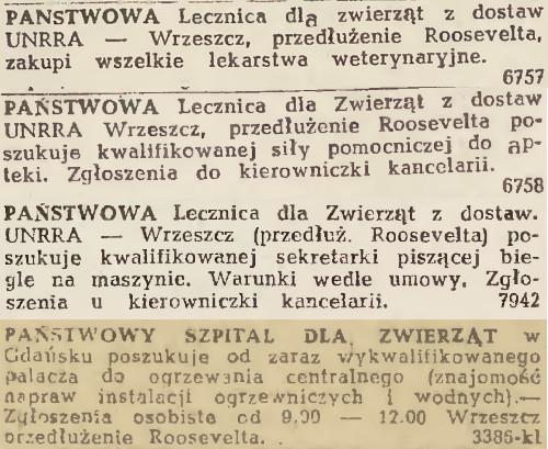 """Ogłoszenia publikowane w """"Dzienniku Bałtyckim"""" w latach 1946-47."""