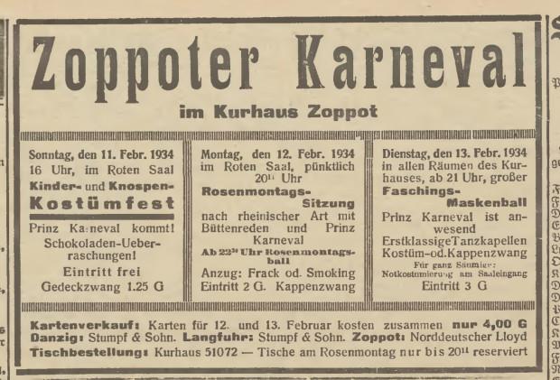 Program Sopockiego Karnawału z 1934 r. (Danziger Allgemeine Zeitung, 10.02.1934).