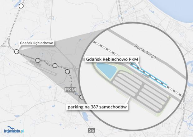 Nowy parking znajduje się po południowej stronie przystanku Pomorskiej Kolei Metropolitalnej.