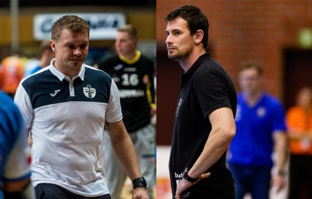 Dawid Nilsson (z lewej) i Marcin Lijewski (z prawej) mają sporo zastrzeżeń do postawy swoich podopiecznych odpowiednio w Arce i Wybrzeżu. Obie ekipy będą grały tylko o utrzymanie.