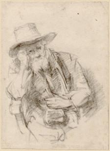 """Drugi rysunek Rembrandta z gdańskiej kolekcji """"Siedzący starzec w kapeluszu"""" z ok. 1640 roku, wykonany czarną kredką."""