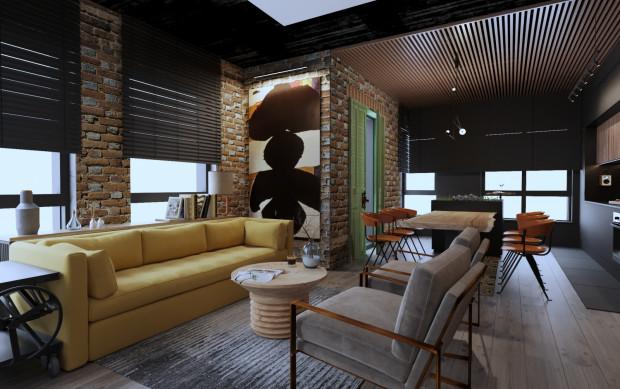 We wnętrzach w stylu industrialnym dobrze odnajdą się także akcenty kolorystyczne.