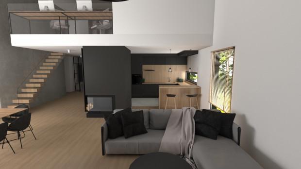 Połączenie betonu architektonicznego, szkła, drewna i stalowych elementów jest kwintesencją industrialnych wnętrz.