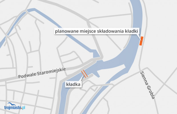 Miejsce składowania przęsła kładki wyznaczono w okolicy ul. Sienna Grobla.