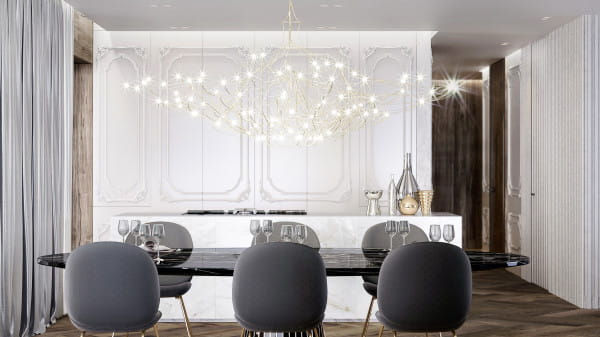 Sztukateria cieszy się dużym powodzeniem w eleganckich klasycznych wnętrzach oraz tych urządzonych w stylu glamour.