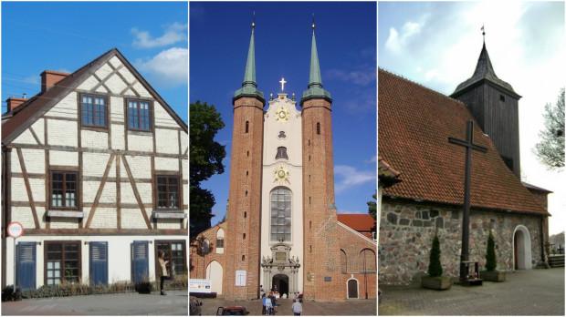 Od lewej: Dwór Hiszpański w Sopocie, archikatedra oliwska w Gdańsku oraz kościół św. Michała Archanioła w Gdyni.