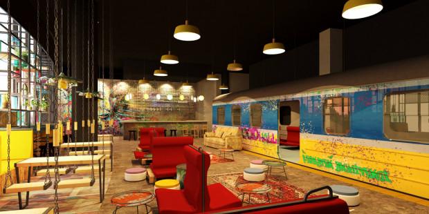 Wnętrze Stacji Food Hall będzie stylizowane na dworzec kolejowy.