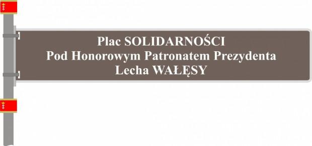 A tak wyglądałaby tablica z nazwą placu, na którym stoi pomnik Poległych Stoczniowców 1970.