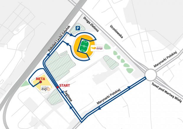 Trasa Biegu na Piątkę wiedzie głównie ulicami Letnicy. Biegacze przebiegną też przez Stadion Energa Gdańsk.