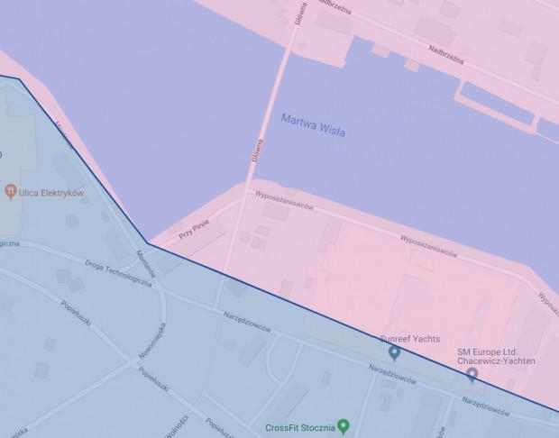 Dźwig stoi w pobliżu zbiegu ul. Wyposażeniowców i Głównej (mostu pontonowego). Granica strefy, w której można pozostawiać rowery Mevo przebiega nieopodal ul. Narzędziowców. Fundacja będzie apelować do Obszaru Metropolitalnego o jej rozszerzenie.