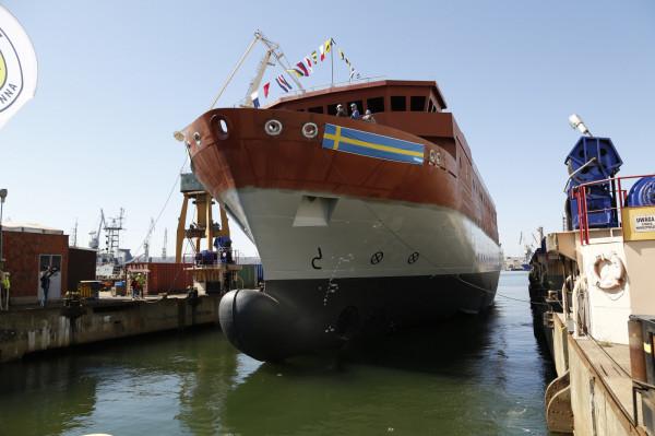 """Okręt rozpoznania radioelektronicznego dla Królewskiej Szwedzkiej Marynarki Wojennej  ma długość 74 m i wyporność 2200 ton i będzie nosił nazwę """"HMS Artemis""""."""