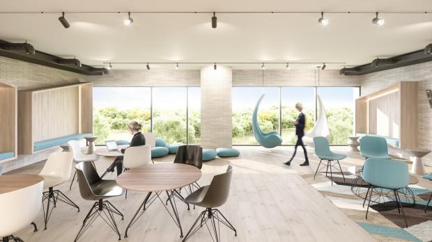 Nowa Letnica. W przestrzeni coworkingowej będą miejsca do pracy zespołowej oraz indywidualnej, a także osobne miejsce do spotkań z klientami.