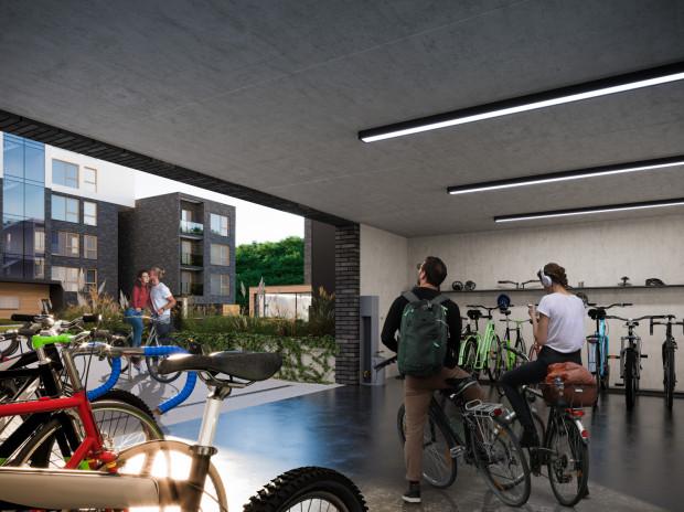 Traffic. Hala tylko dla rowerów na parterze inwestycji.