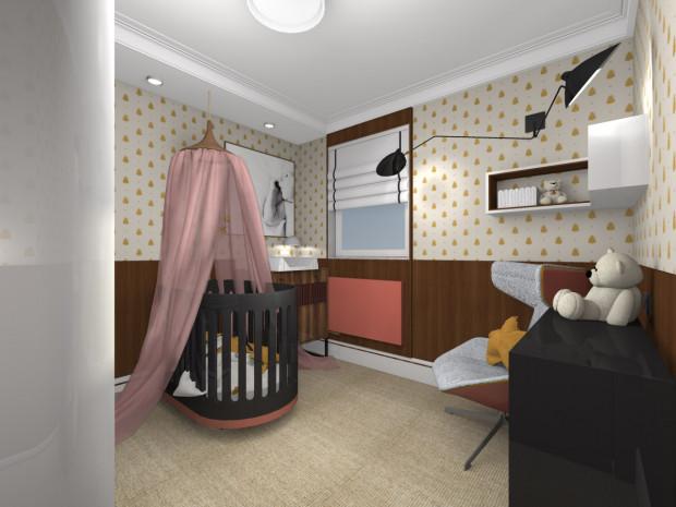 Druga wersja uwzględnia zmianę aranżacji w taki sposób, by pomieszczenie stało się pokojem dziecięcym.