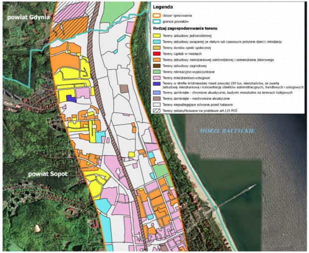 Obszar opracowania na terenie Sopotu