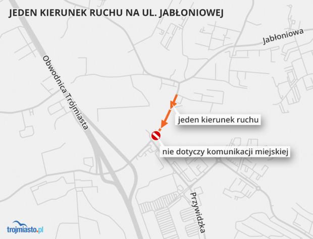 Jeden kierunek ruchu na Jabłoniowej między Przywidzką a Oliwkową nie dotyczy jedynie autobusów komunikacji miejskiej. Wszyscy pozostali kierowcy powinni korzystać z wytyczonych objazdów.