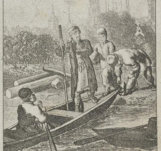 Rycina przedstawiająca ucieczkę króla Stanisława Leszczyńskiego z Gdańska do Kwidzyna.