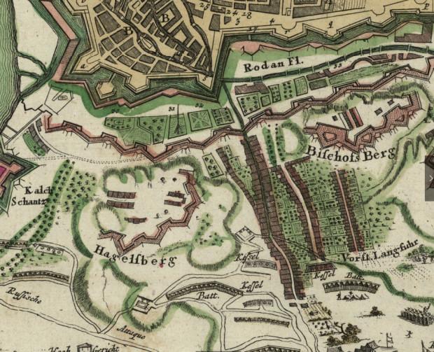 Mapa pola bitwy, stoczonej 9 maja 1734 r. Hagelsberg - Góra Gradowa. Bischofs Berg - Biskupia Górka.