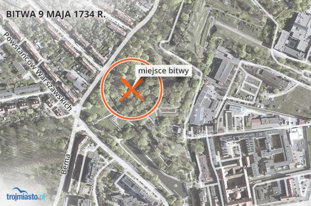 Miejsce bitwy na mapie dzisiejszej mapie Gdańska. Dziś istnieje tu park miejski.