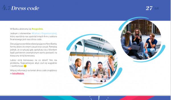 Jedna ze strona Welcome Book'a Nest Banku - czyli informacji w formie powitalnej książki dla nowych pracowników