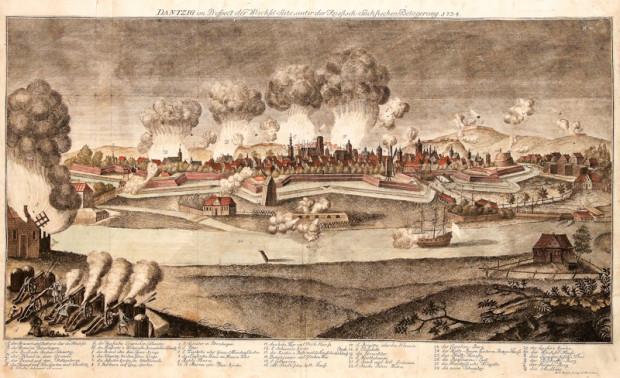 Oblężenie Gdańska przez wojska rosyjskie i saskie w 1734 r. Ilustracja z domeny publicznej.
