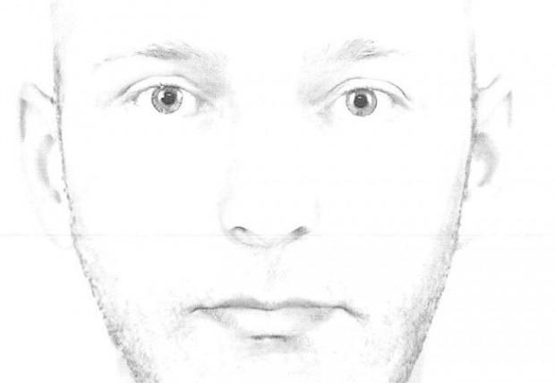 Poszukiwany przez policję mężczyzna (kliknij, aby zobaczyć całą twarz).