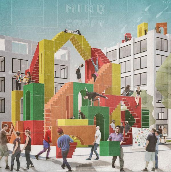 Mind Craft. Koncepcyjny projekt dotyczący aranżowania miejsc publicznych przy pomocy plastikowych bloków.