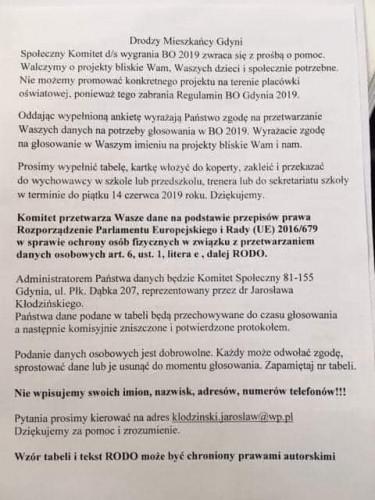 Instrukcja i lista kolportowana w imieniu Społecznego Komitetu ds. wygrania BO 2019.