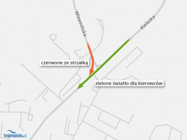 Sytuacja na skrzyżowaniu Kielecka-Witomińska-Rolnicza.