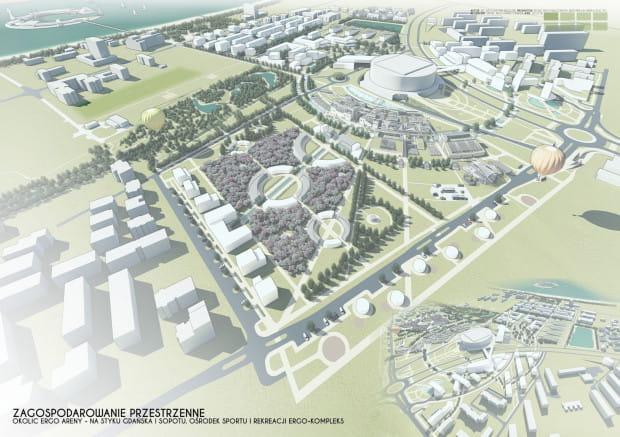 Okolica Ergo Areny w koncepcji studenta Politechniki Gdańskiej.