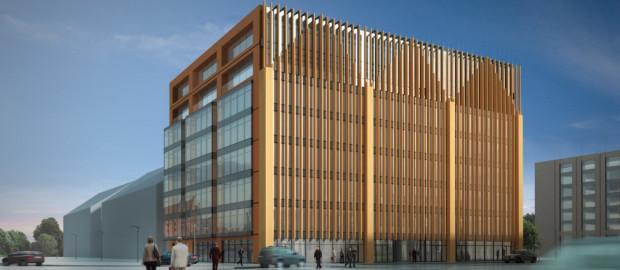 Architektura budynku w delikatny sposób nawiązuje do charakterystycznego kształtu kamienic w Śródmieściu.