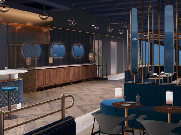 Część kawiarniano-restauracyjna od strony Zatoki - nawiązanie do wnętrza transatlantyku.
