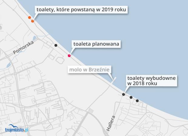 Miejskie toalety na plażach w Gdańsku. Są już cztery, będą jeszcze trzy: dwie w tym roku, kolejna w niedługiej przyszłości.