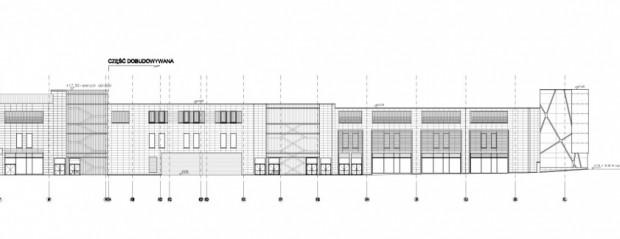 Projekt elewacji nowej części Galerii Bałtyckiej od al. Grunwaldzkiej (wersja z 2017 r.)