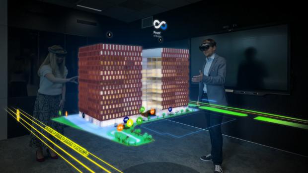 Dzięki okularom HoloLens można zobaczyć przyszłe budynki Wave jako trójwymiarowy hologram.