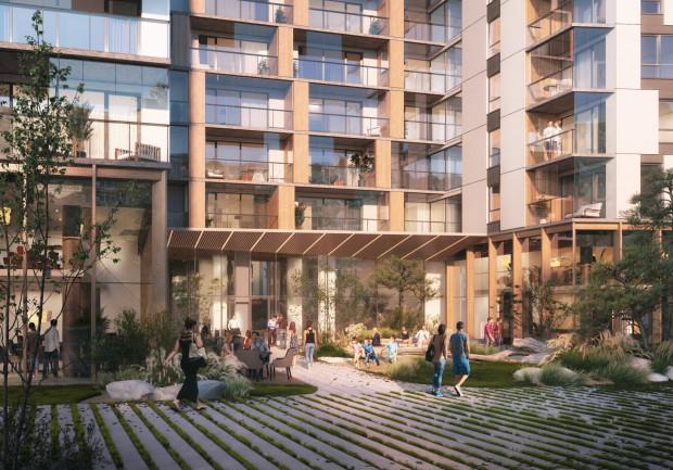 Skwerek przed budynkiem będzie ogólnodostępny. Zaprojektowana tutaj zieleń ma nawiązywać do sąsiedztwa parku Reagana i plaży.