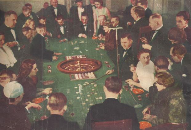 Fragment broszury reklamowej kasyna przedstawiający grę w ruletkę, koniec lat 30. XX w. (zbiory Muzeum Sopotu).