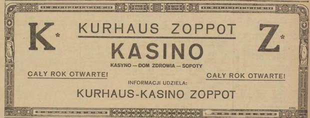 """Reklama kasyna, """"Gazeta Gdańska"""", 5.08.1921 (ze zbiorów PAN Biblioteka Gdańska via Pomorska Biblioteka Cyfrowa)."""