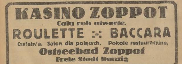 """Reklama kasyna, """"Gazeta Gdańska"""", 2.07.1927 (ze zbiorów PAN Biblioteka Gdańska via Pomorska Biblioteka Cyfrowa)."""