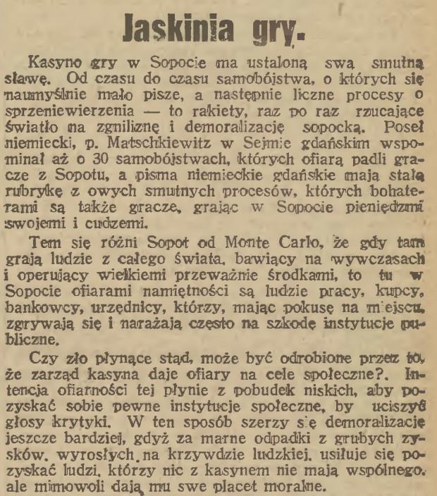 """Jeden z licznych artykułów piętnujących działalność kasyna, """"Gazeta Gdańska"""", 13.05.1922 (ze zbiorów PAN Biblioteka Gdańska via Pomorska Biblioteka Cyfrowa)."""