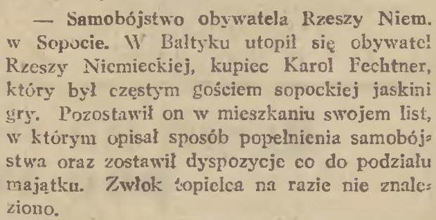 """Doniesienie o samobójstwie jednego z kupców niemieckich, który stracił fortunę w kasynie. Większość samobójstw popełniano jednak w zaciszu hotelowych pokoi. """"Gazeta Gdańska"""", 2.04.1932 (ze zbiorów PAN Biblioteka Gdańska via Pomorska Biblioteka Cyfrowa)."""