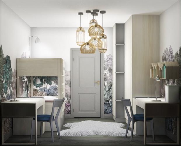 Wiklinowe lampy nie tylko dobrze oświetlają przestrzeń, ale też komponują się z tapetą i podkreślają styl boho w jakim zaprojektowany został cały pokój.