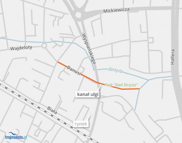 Na długości ok. 50 m w parku Strzyża kanał będzie otwarty.